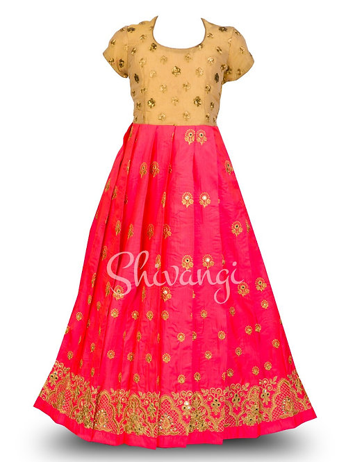 Shivangi Floral Embroidery Long Gown in Pink