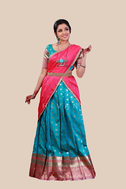 Shivangi Lotus Pond Half Saree for Teenager in Blue