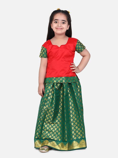 Kidswear Girls Bow n Bee Red Indian Pavada Pattu Lehenga