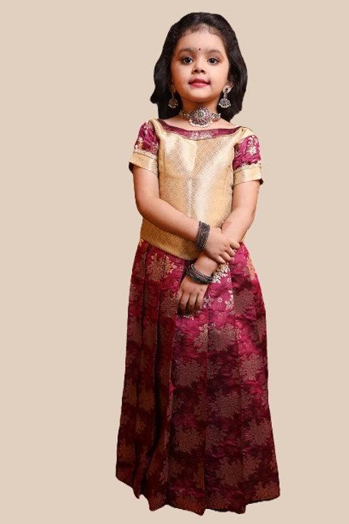 Shivangi Girls Golden Rose Bunch Pattu Pavadai !!!- AM73MG