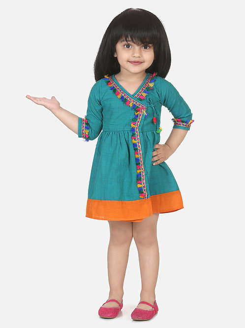 Bow N Bee Girls Cotton Front Open Full Sleeve Frock in Blue