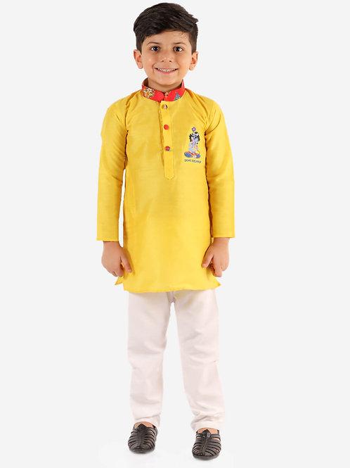 Boys Radhe Krishna kurta pyjama in Yellow