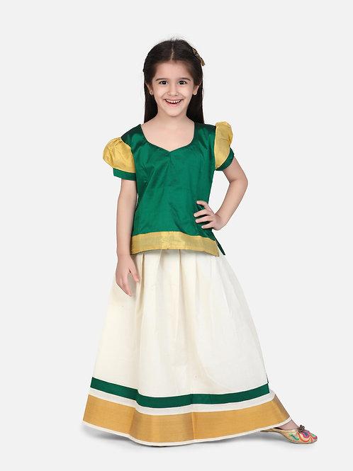 Kidswear Girls Bow n Bee Green Indian Pavada Pattu Lehenga
