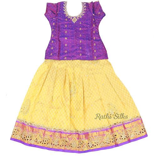 EMB Pure Silk pattu pavadai | Lehenga for girls in Sandle