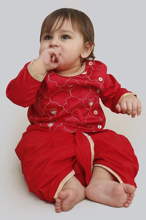 Tiber Taber Baby Boy Red Jaal Dhoti Set