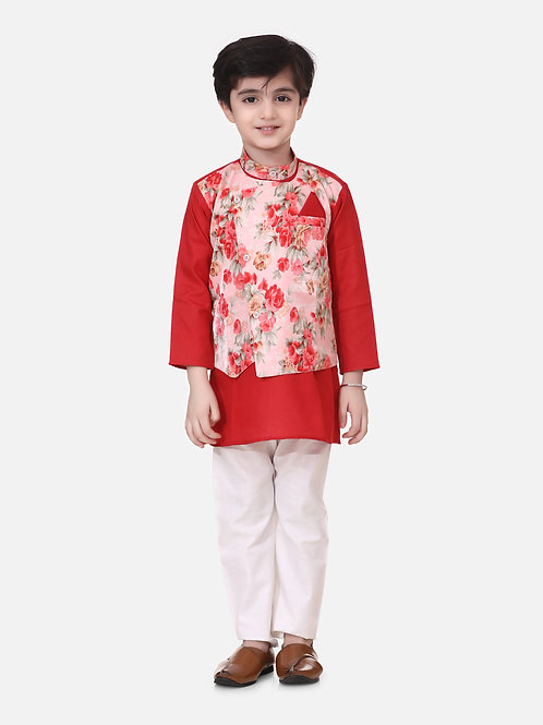 Bow n Bee Boys Attached Jacket Kurta Pajama in Red