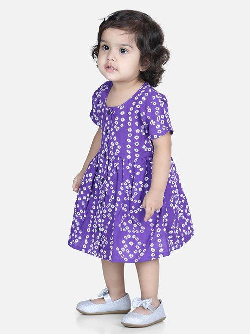 Natyam Infant Cotton Purple Jhabla With Bloomer