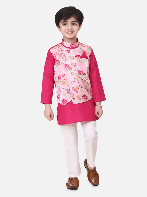 Bow n Bee Boys Attached Jacket Kurta Pajama in Pink
