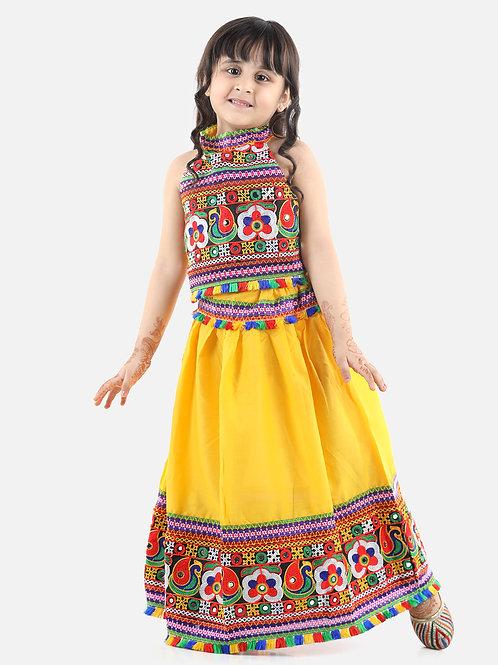 Bow N Bee Girls Bandhani halter neck chaniya choli in Yellow