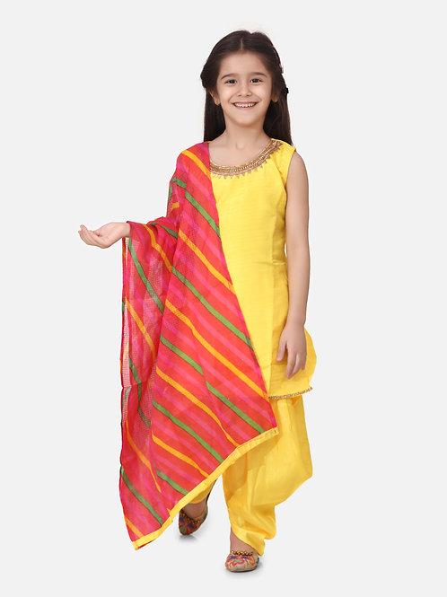 Bow N Bee Girls Silk Kurti Dhoti With Leheriya Dupatta in Yellow