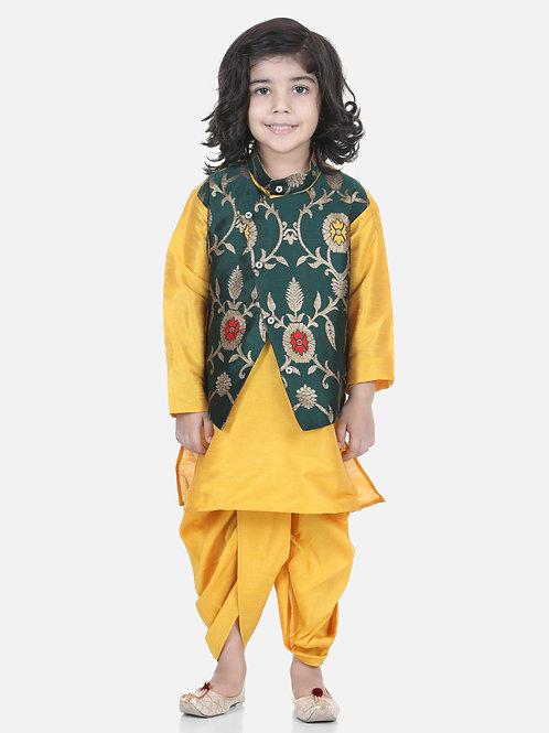 Bow N Bee Attached Jacket Jacquard Green Dhoti Kurta