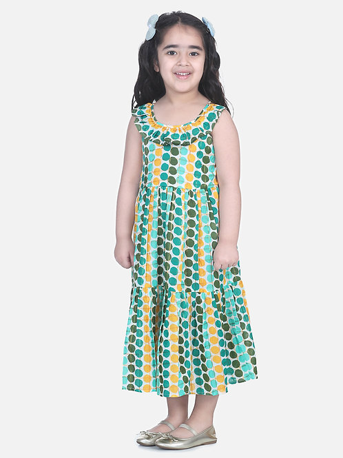 Bow N Bee Girls  Polka Dot Tier Halter Neck Gown in Green