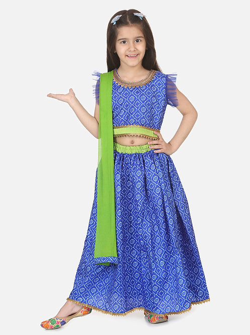 Bow N Bee Girls Halter Neck Floral Lehenga in Blue