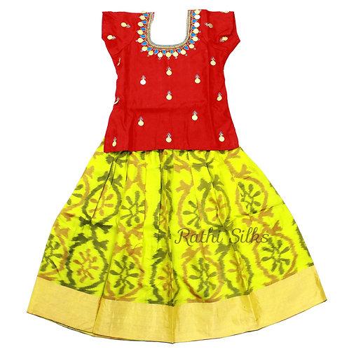 EMB Pure Silk pattu pavadai | Lehenga for girls in Yellow