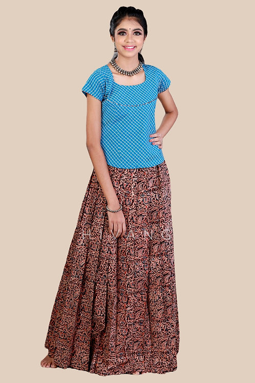 Shivangi Girls Kalamkari floral Cotton Pavadai Set !!! – AN92BR