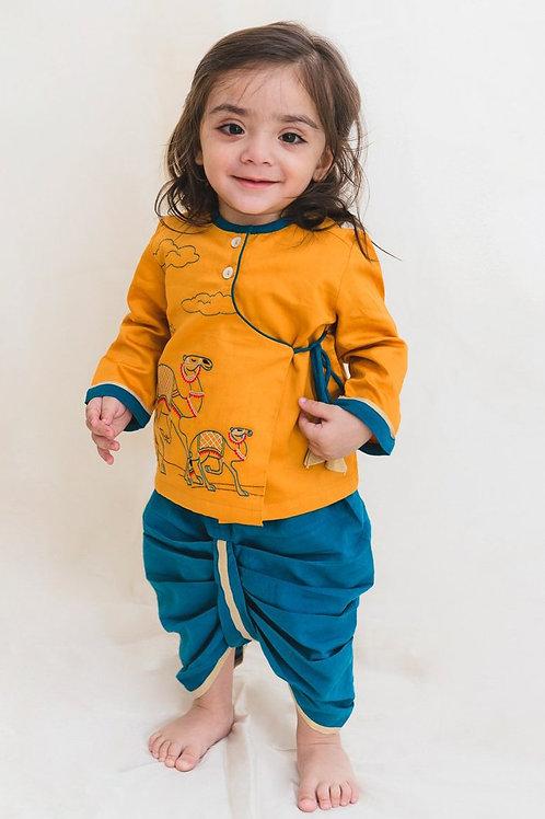 Tiber Taber Baby Boy Mustard Embroidered Camel Dhoti Set