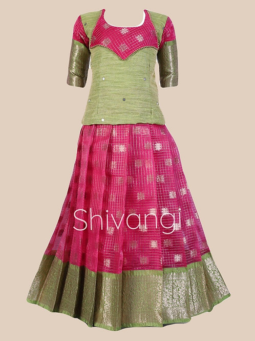 Shivangi Girls Winkle Pavadai set   Lehenga !!!