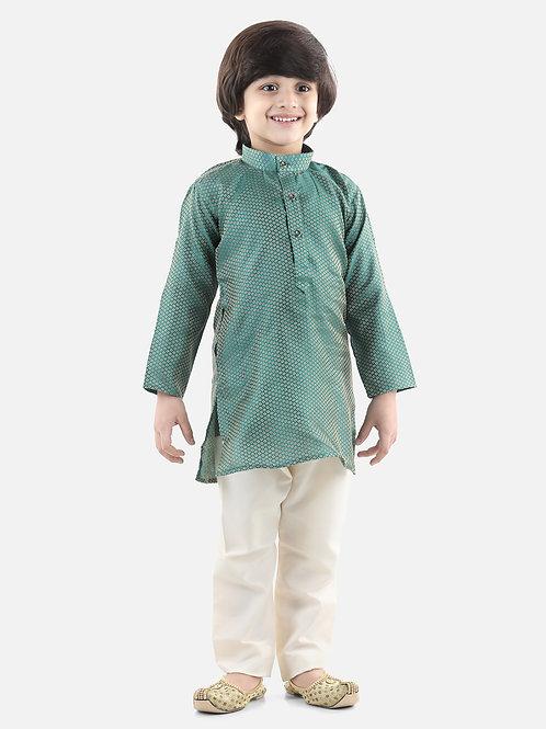 Bow N Bee Boys Jacquard Kurta Pajama in Green