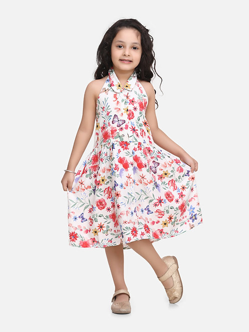 Bow N Bee Baby Girls Halter Neck Collar Frock in White