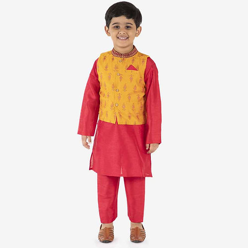 Kid1 Marigold Bundi With Kurta Pyjama Set