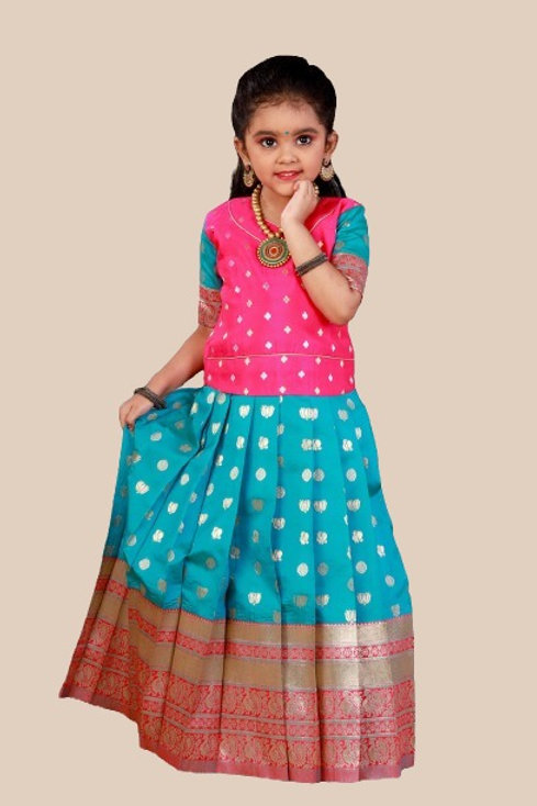 Shivangi Girls Lotus Pond Pattu Pavadai   Lehenga - !!AM66RBU