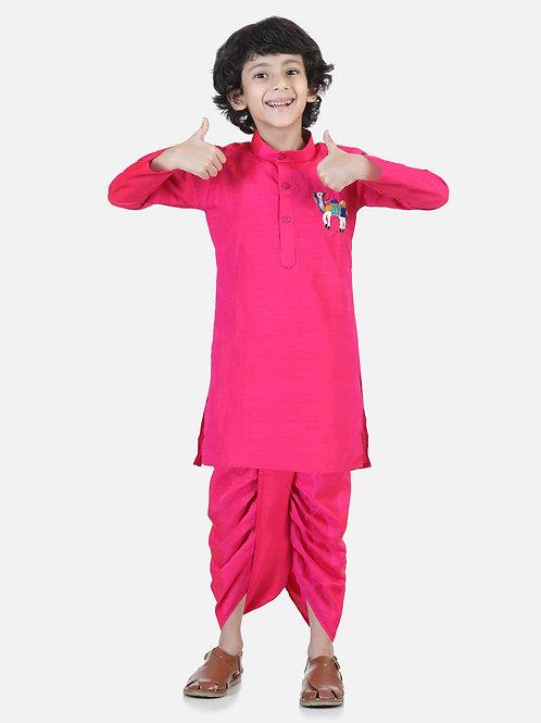 Natyam  Pink Dhoti Kurta for boys