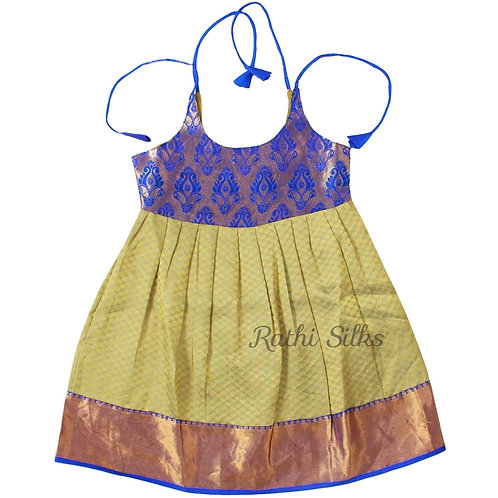 Pure Silk Shoulder Knot Baby Frocks in Beige for 4 years