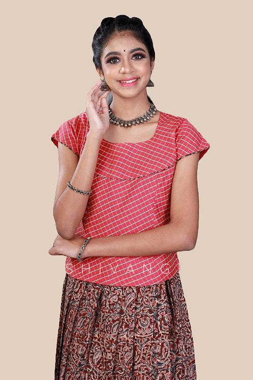 Shivangi Girls Kalamkari floral Cotton Pavadai Set !!! – AN92MR
