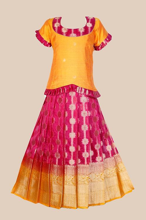 Shivangi Girls Banarasi Pattu Pavadai- !!AM49PK