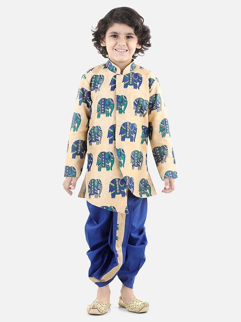 Bow N Bee Hathi Print Sherwani Dhoti in Blue