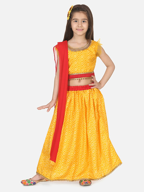 Bow N Bee Girls Halter Neck Floral Lehenga in Yellow