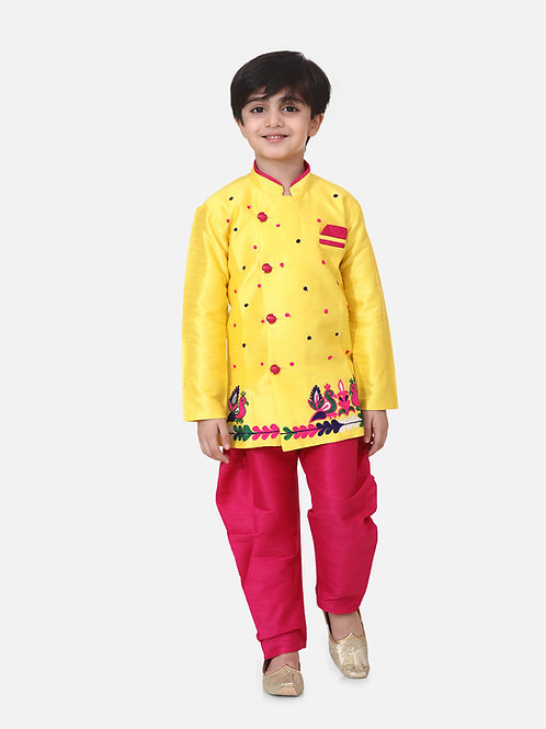 Bow n Bee Boys Hand Embroidered Mor Sherwani in Yellow