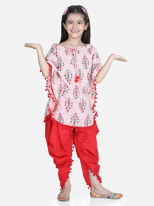 Bow N Bee Cotton Kaftan Dhoti Set for Girls in Peach