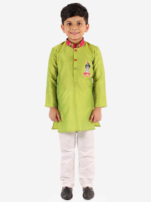Boys Radhe Krishna kurta pyjama in Green