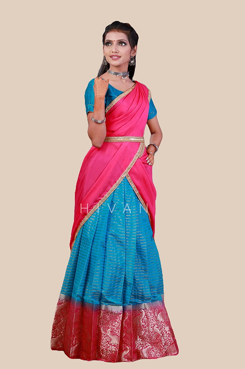 Shivangi Organza Peacock Pattu Langa Half Saree