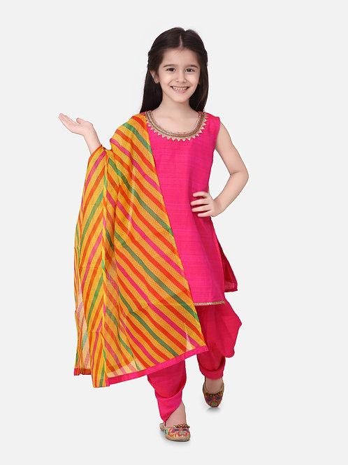 Bow N Bee Girls Silk Kurti Dhoti With Leheriya Dupatta in Pink