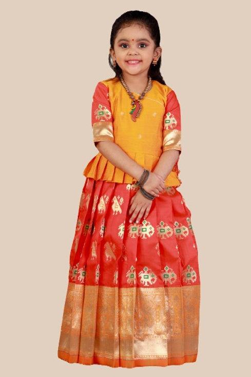 Shivangi Girls Peacock Patola Pavadai Set !!!-AN38OR