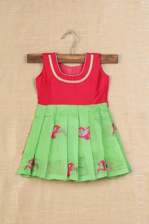 Shivangi Green and Red Baby Banaras Frocks !!!