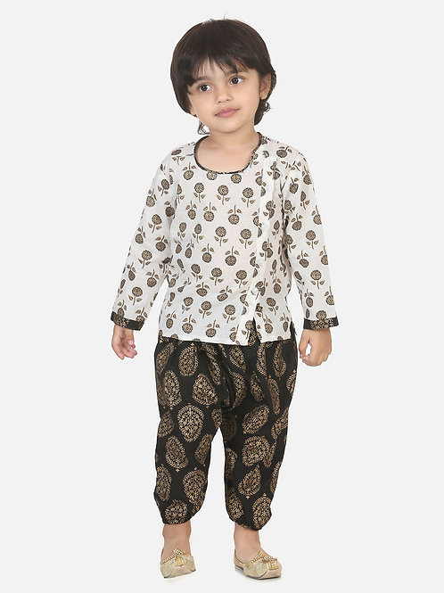Bow n Bee Boys Front Open Cotton Kurta With Harem in Black
