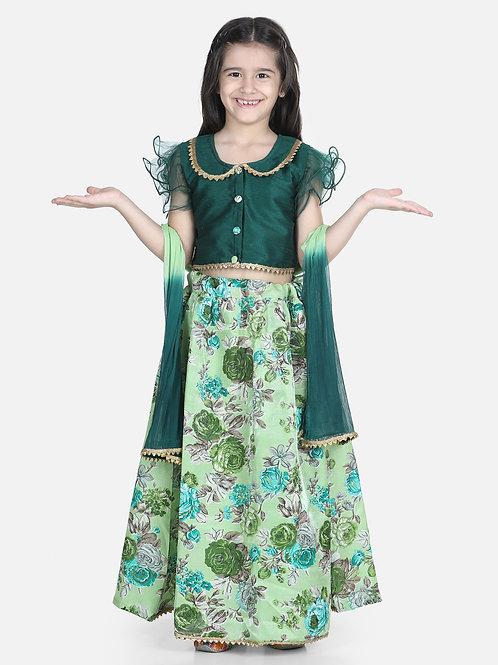 Bow N Bee Ruffle Sleeve Green Floral Lehenga