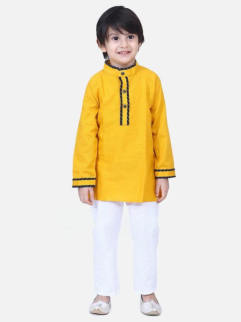 Kidswear Boys Bow n Bee Yellow Full Sleeve Stand Collar Kurta Pajama