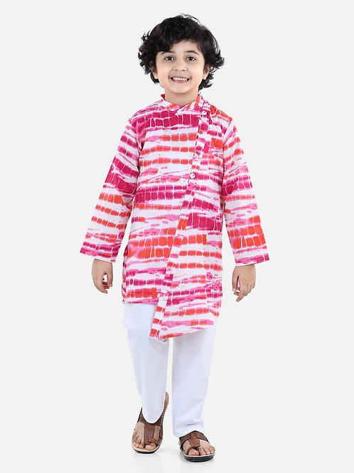 Bow N Bee Cotton Kurta Pyjama in Pink