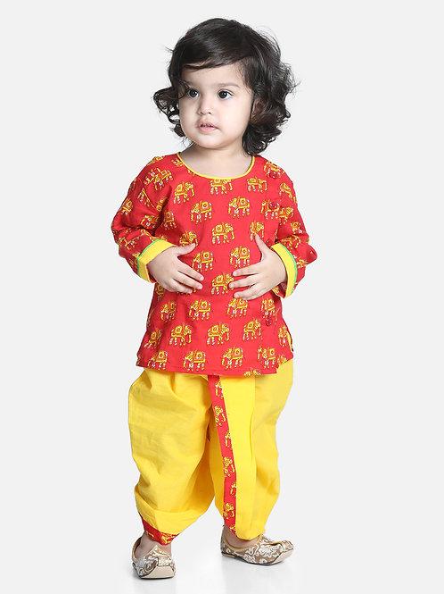 Bow N Bee Hathi Print Red Infant Cotton Dhoti kurta