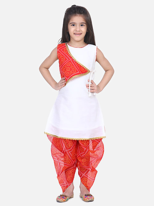 Kidswear Bow n Bee White Panel Kurti Dhoti For Baby Girls