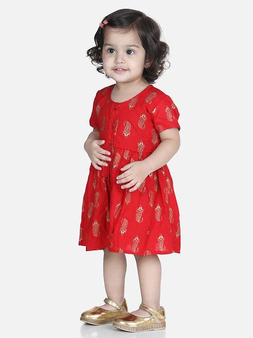 Natyam Infant Cotton RedJhabla With Bloomer