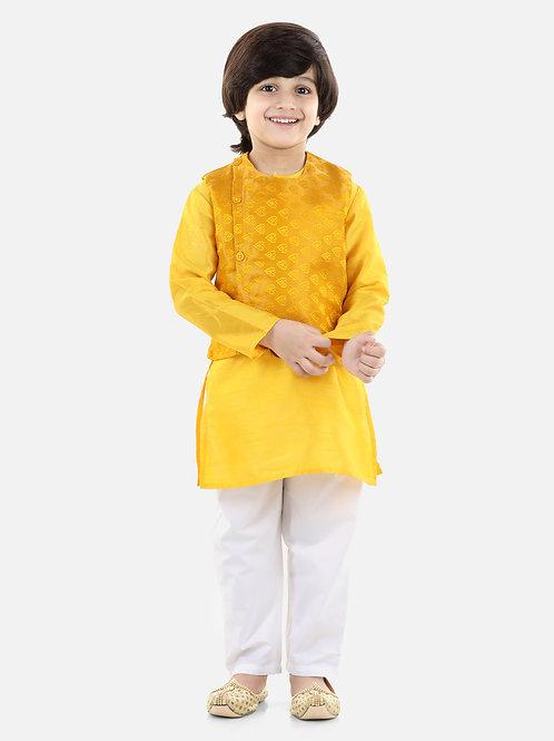 Jacquard Jacket Kurta Pajama 3 Piece Set in Yellow