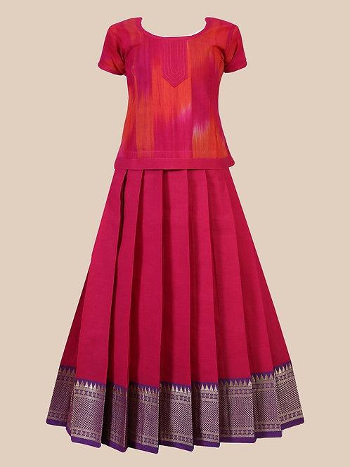Shivangi Girls Cotton Temple Border Pavadai Set   Lehenga !!!- AN57PK