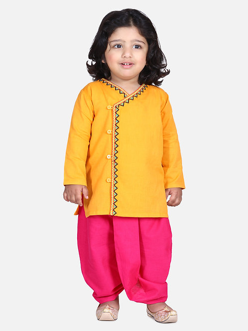 Bow n Bee Boys Yellow Front Open Embroidered Kurta Dhoti