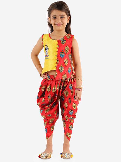 Girls Radhe Krishna Dhoti Set in Yellow