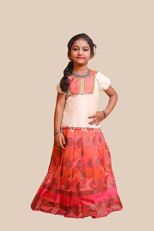 Shivangi Girls Golden Tulip Pattu Pavadai   Lehenga